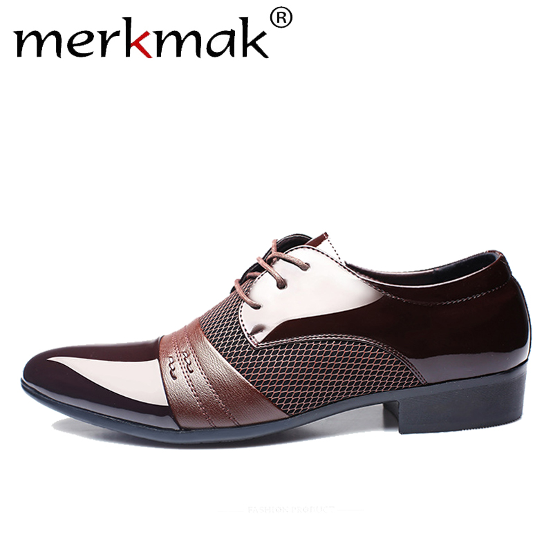 Merkmak Men's Leather Shoes Retro Formal Dress Men Shoes Business Wedding Casual Breathable Wine Red Oxfords Man Footwear Flats