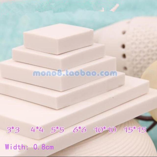 白い正方形シリーズ刻まれたゴムバンドラバータイル6オプション3*3,4*4,5*5,6*6,10*10,15*15センチ手印材