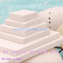 Quadrato bianco serie intagliato elastico piastrella in gomma 6 opzionale 3*3,4*4,5*5,6*6,10*10,15*15 cm mano materiale timbro