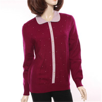100%goat cashmere POLO collar knit women fashion beads cardigan sweater single breasted sky blue 3color S 2XL