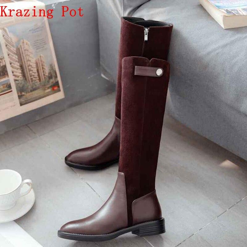 Krazing Pot 2019 full grain leather zipper limited customization med heels patch work luxury riding rivets