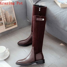 Krazing Pot 2018 full grain leather zipper limited customization med heels patch work luxury riding rivets knee high boots L7f9