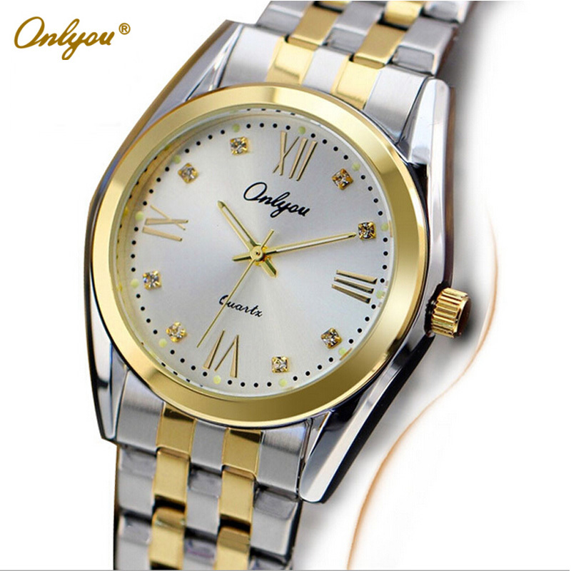Onlyou Luxury Brand Quartz Watches for Womens Mens Fashion Wrist Watch Gold Stainless Steel boys Girls Dress Watch Clock 8819 splendid brand new boys girls students time clock electronic digital lcd wrist sport watch