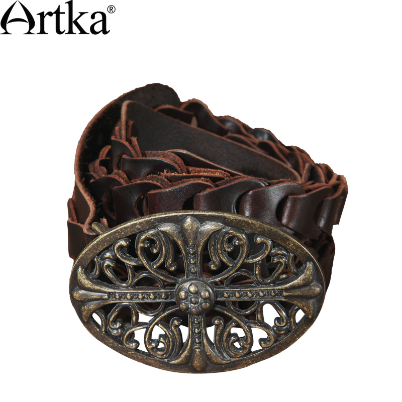 ARTKA Women'S Vintage Knight Cool Fashion Genuine Leather Carved All-Match Metal Buckle Belt  G02400