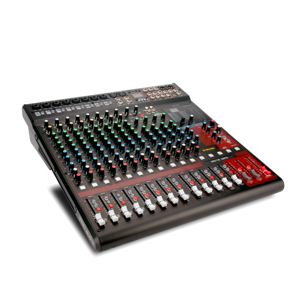 Professional Mixer Console with 1000 Watt *2 Power Amplifier 16 Channel Record 21 Language system Spx Effect Stage performance