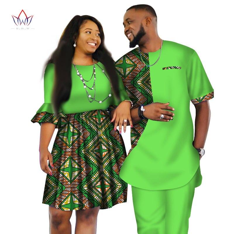 2019 vêtements africains pour couples robe de mariée et hommes costume o-cou hommes deux pièces ensemble dashiki à manches courtes tissu grande taille WYQ80