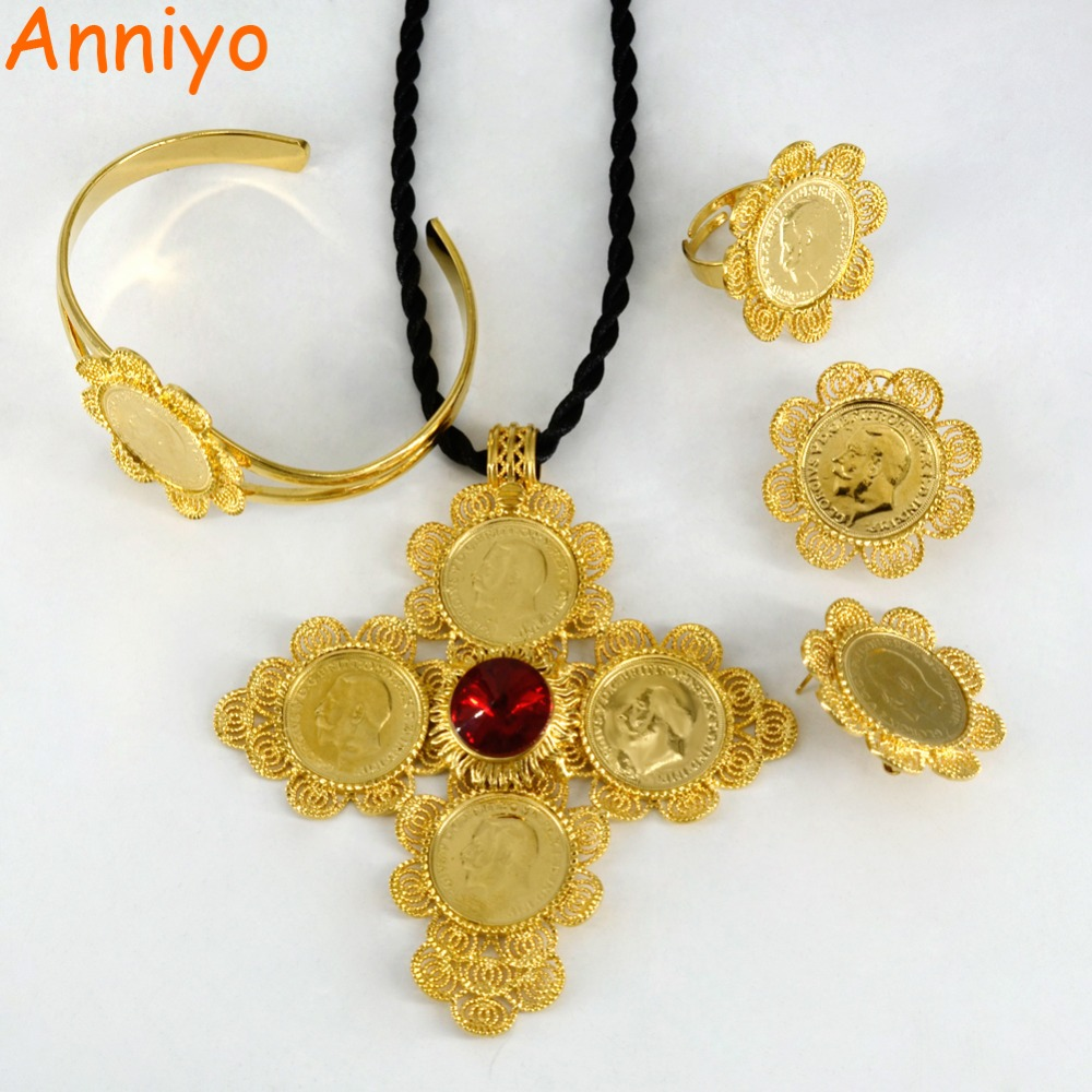 Anniyo Ethiopian Jewelry sets Gold Color Big Coin Cross Pendant/Rope/Earrings/Ring/Bangle Habesha African Wedding Gifts #001716Anniyo Ethiopian Jewelry sets Gold Color Big Coin Cross Pendant/Rope/Earrings/Ring/Bangle Habesha African Wedding Gifts #001716