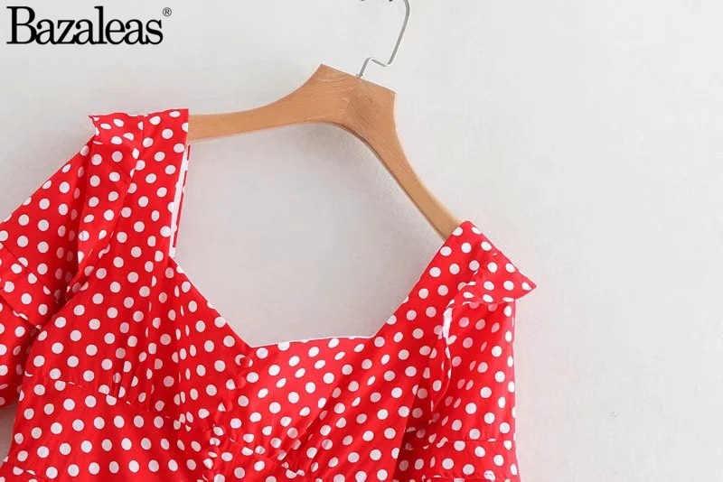 2019 Nút Bấm Phía Trước DressDot In Phụ Nữ Ruffle Tay Áo Đầm Mini Vuông Cổ Áo Lại Váy Dây Kéo