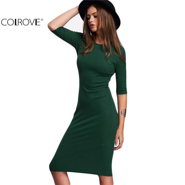 COLROVE Work Summer Style Women Bodycon Dresses Sexy 2016 New Arrival Casual Green Crew Neck Half Sleeve Midi Dress