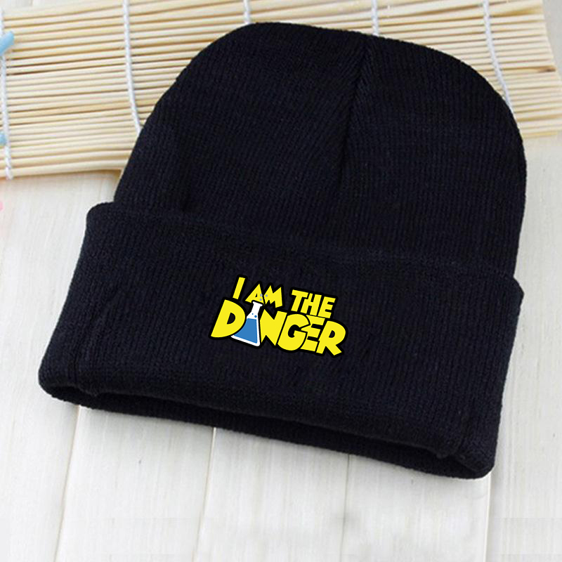 Giancomics Hot American TV Breaking Bad Logo I AM THE DANGER Beanie Knitted Cotton Hat Costume Unisex Fashion Winter Otaku Gifts