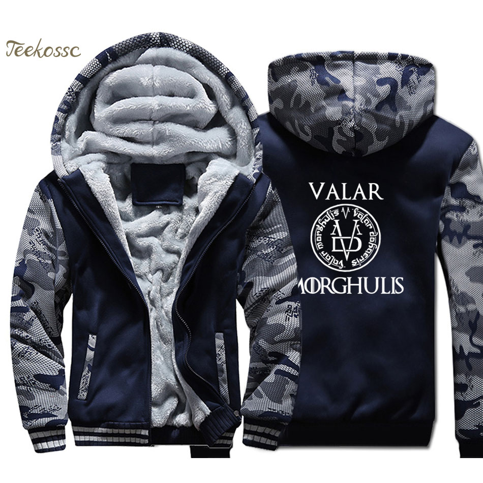 Game of Thrones Coat Hoodie Men Valar Morghulis Sweatshirt 2018 Winter Fleece Thick Zipper Jacket Youth Hip Hop Brand Streetwear