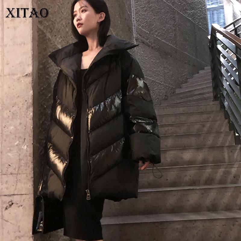 [XITAO] Thick Loose Women 2018 Winter Full Sleeve Korea Fashion Full Sleeve Coat Female Solid Color Pocket   Parka   LYH2278