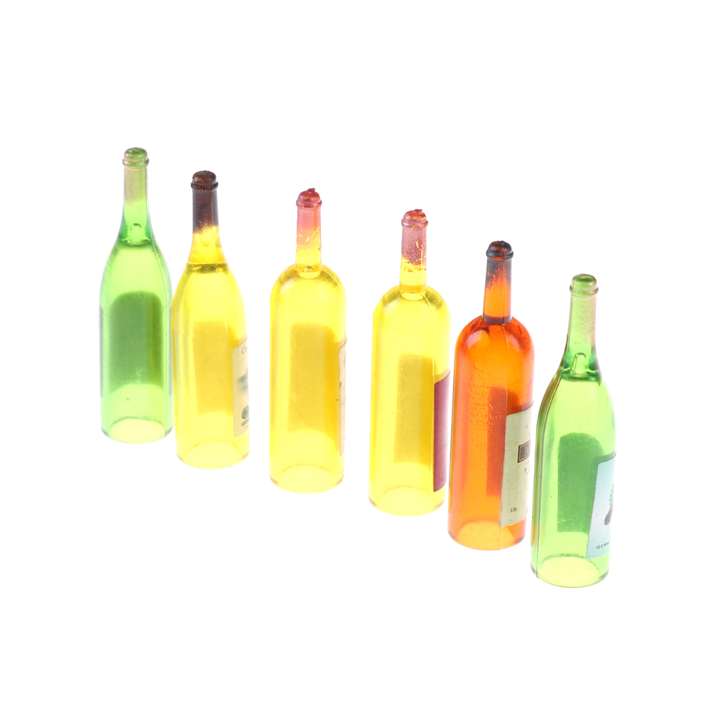 6Pcs/lot Colorful Wine Bottles Dollhouse Miniature 1:12 Scale Classic Toys For Kids Scale Models Doll House Decor