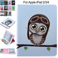For iPad 4 Case Color Print Owl Bird PU Leather Protective Smart Cover for Apple iPad 2 3 4 Wallet Card Slots Fundas