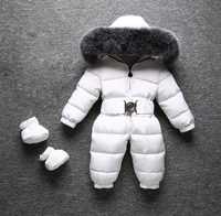 30 Degree Infant Baby Snowsuit Natural Fox Fur Collar Thick Warm Kids Boys Girls Winter Coat White Duck Down Rompers Snow Wear