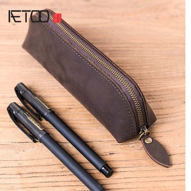 5832bdf90 2017 New Crazy Horse Leather Head Layer Leather Pen Pocket School Handmade  Retro Vintage Leather Stationery
