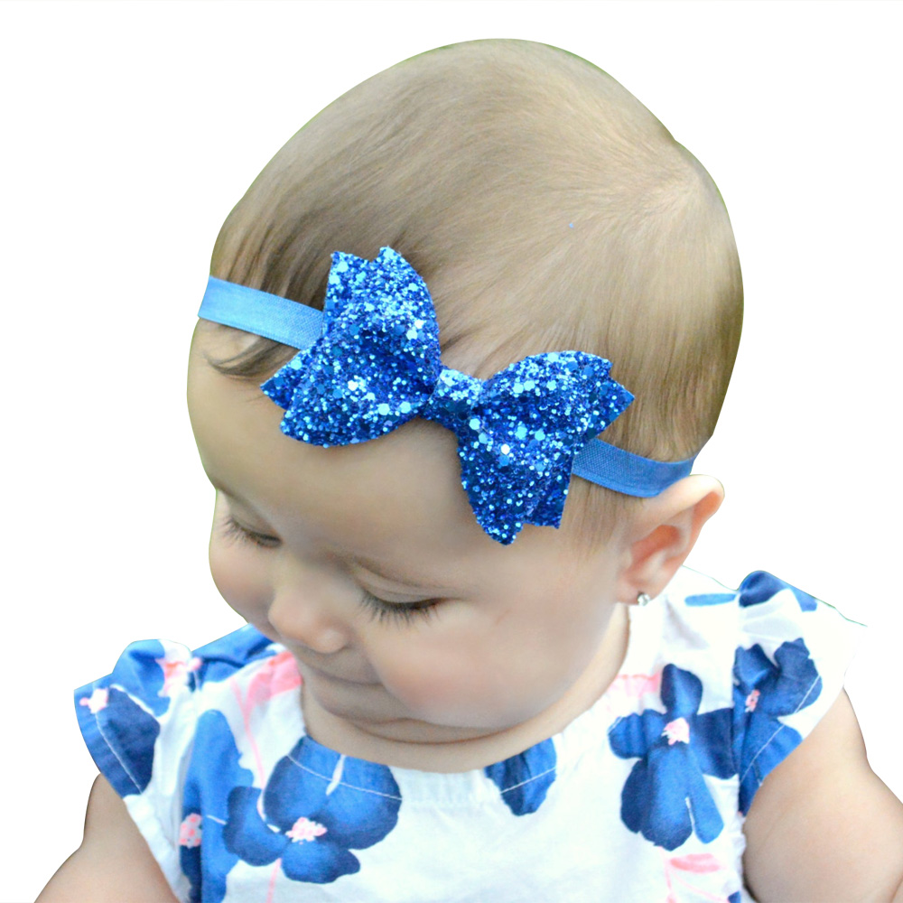 TWDVS Baru Lahir Shiny Bow Knot Hair band Anak Perempuan Elastis Bow - Aksesori pakaian - Foto 5