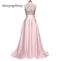 Sexy Backless Halter Long Evening Dresses Crystal Beaded Pears Sequins Formal Dress Pink A Line Party