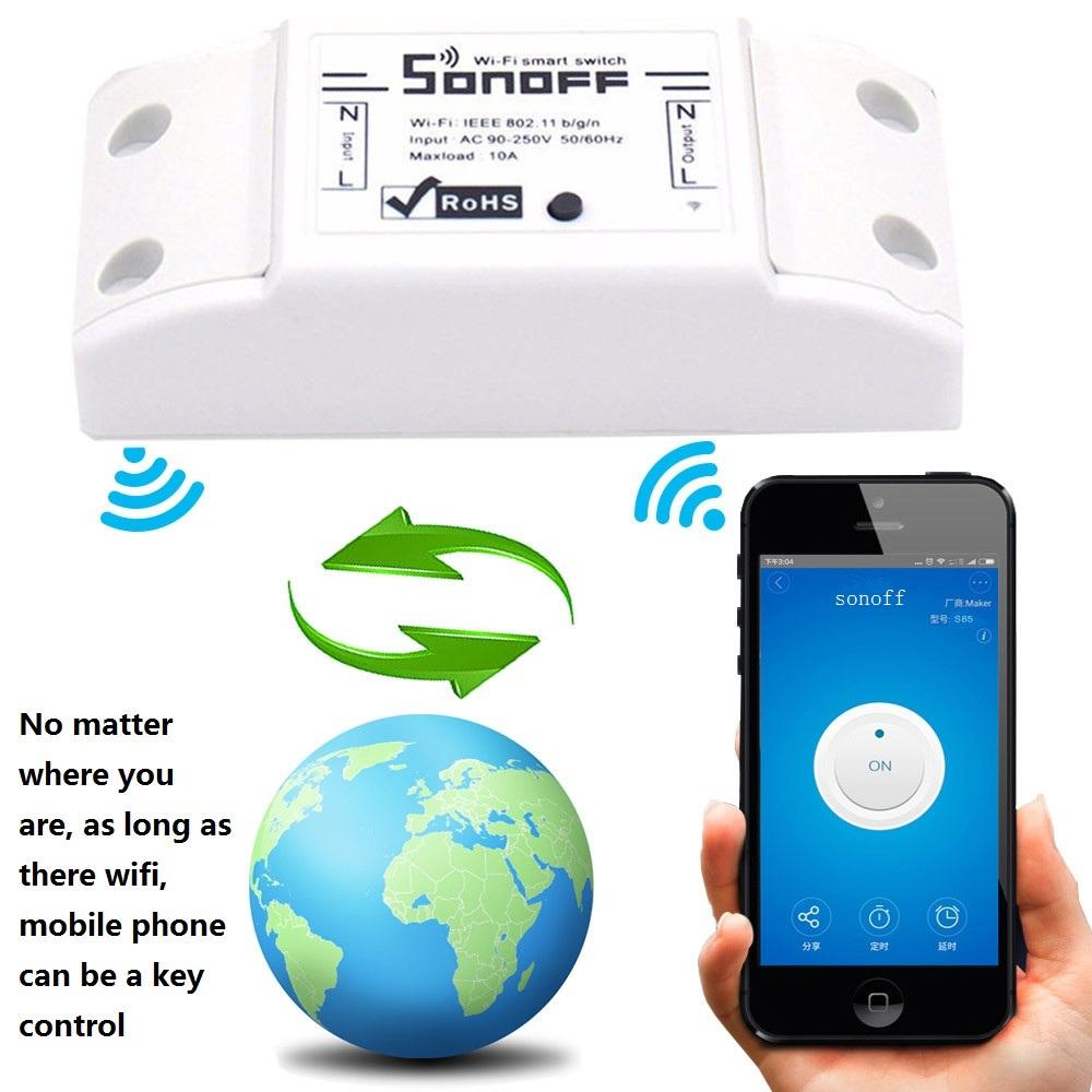 Sonoff Moduł Automatyki Inteligentnego Domu Wifi Przełącznik Uniwersalny Zegar Diy Przełącznika Bezprzewodowego Pilota zdalnego sterowania Poprzez IOS Android 10A/2200 W 3