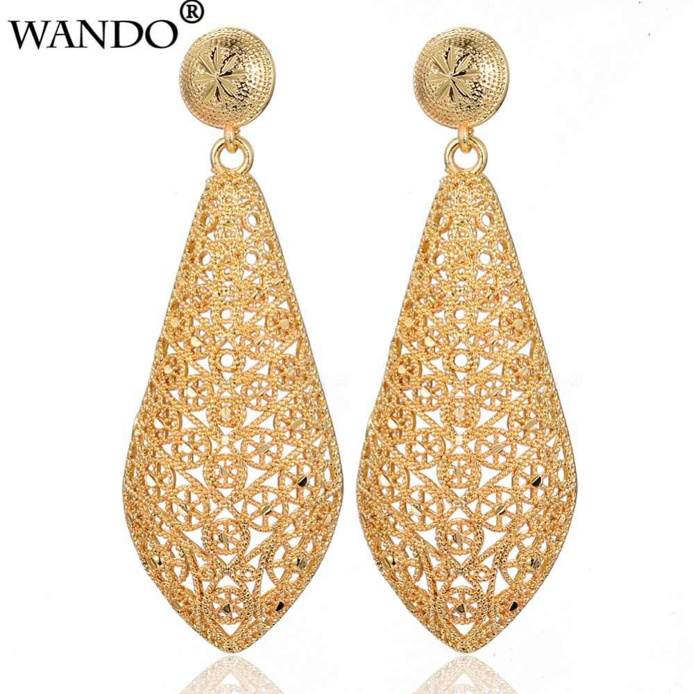 Wando Fashion Dubai jewelry hollow Street Style Gold colour France Earrings For Women Punk Party Earrings for Women/Girl E82