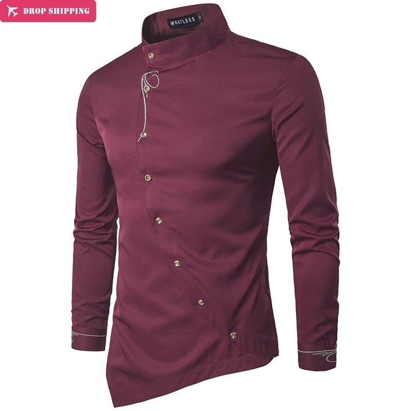DropShipping 남성 셔츠 긴 소매 탑스 개성 비스듬한 불규칙한 높은 등급 망 드레스 셔츠 슬림 남성 셔츠