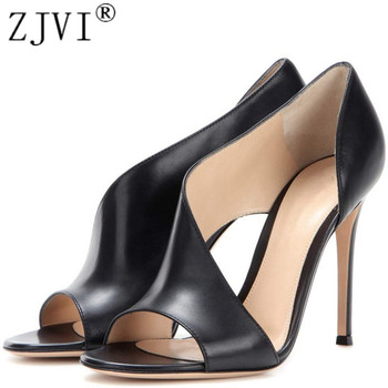ZJVI woman fashion peep toe sandals ladies 12cm thin high heels shoes for women summer cow leather sandal black pary sandalias sandal