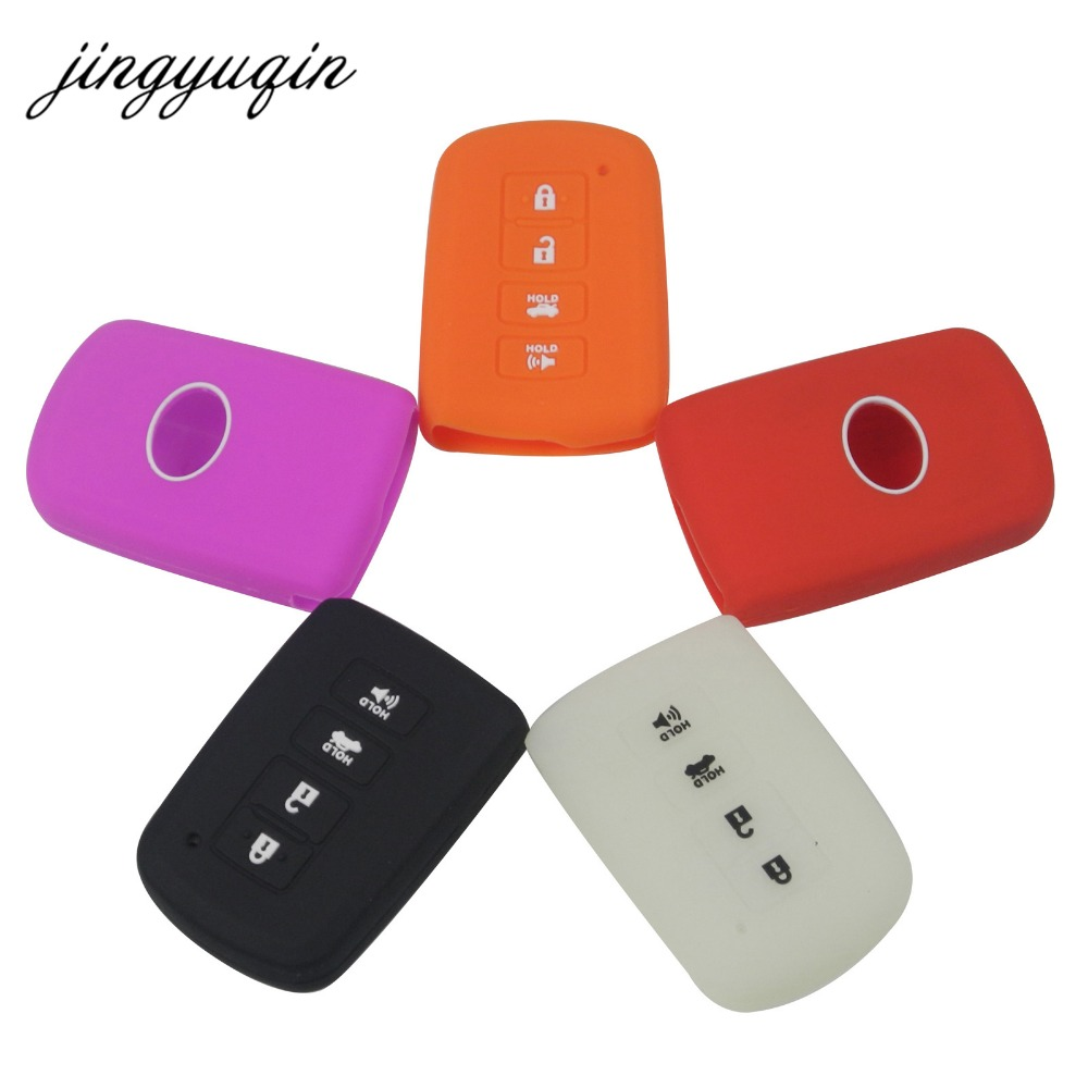 jingyuqin New Silicone Case For Toyota Camry RAV4 Avalon Corolla Altis 4 Button Remote Smart Key