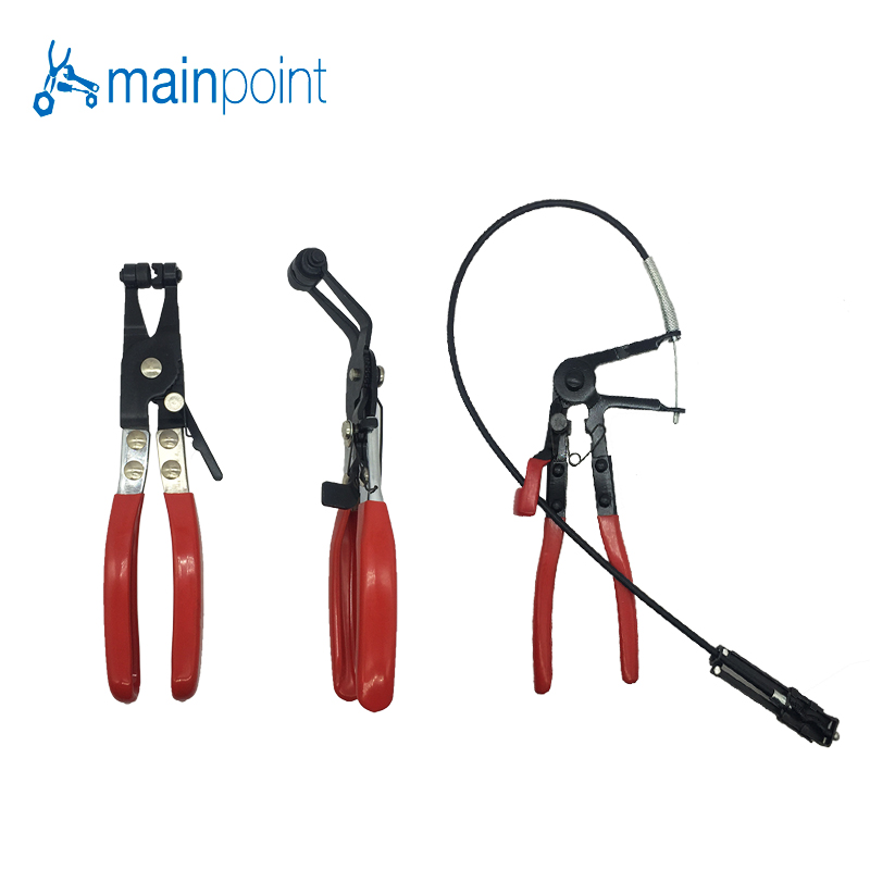 Mainpoint 3Pcs Auto/Car Repairs Hand Tools Bent Nose Hose Clamp Pliers Cable Type Flexible Wire Long Reach Hose Clip Pliers quality 9 in 1 flexible hose clamp plier kit pliers tool set with case auto vehicle tools cable wire long reach car repair tools