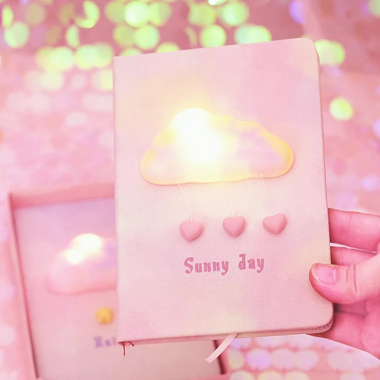 1 set Student Gifts <font><b>Kawaii</b></font> Pink Dream cloud <font><b>Notebook</b></font> /Sunny day journey Girl's Secret Creative <font><b>Diary</b></font> Book With light On image