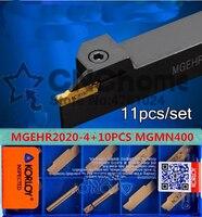 MGEHR2020-4 1 pcs + 10 pcs MGMN400-M = 11 pçs/set torno CNC ferramentas NC3020/NC3030 Usinagem De aço Frete grátis