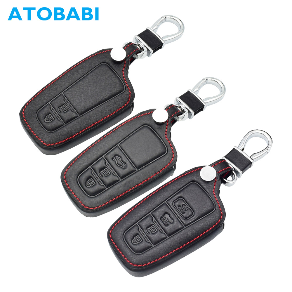 ATOBABI Leather Remote Keychain Smart Key Case Protector Holder for Toyota C-HR CHR 2017 2018 Camry Prius Prado Car Key Cover