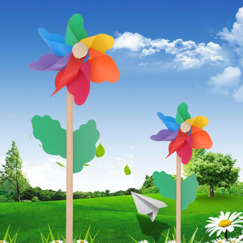 Colorful Wood Windmill Wind Spinner Pinwheels Home