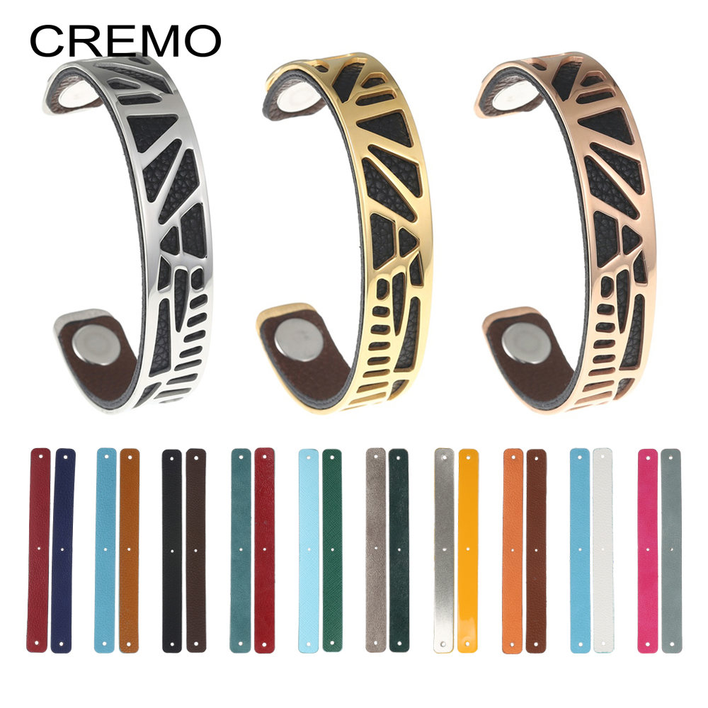 Cremo 1/Piece Palm Tree Bracelets Woodpecker Cuff Leather Bracelet Reversible Bijoux Femme Cham Bangles Stainless Steel Pulseras cremo labyrinth bangles stainless steel bracelets femme bijoux manchette reversible 40mm wide maze leather bangle pulseiras