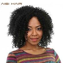 AISI ВОЛОС Afro Kinky Вьющимися Парик Синтетические Парики для Чернокожих Женщин С Жаропрочных
