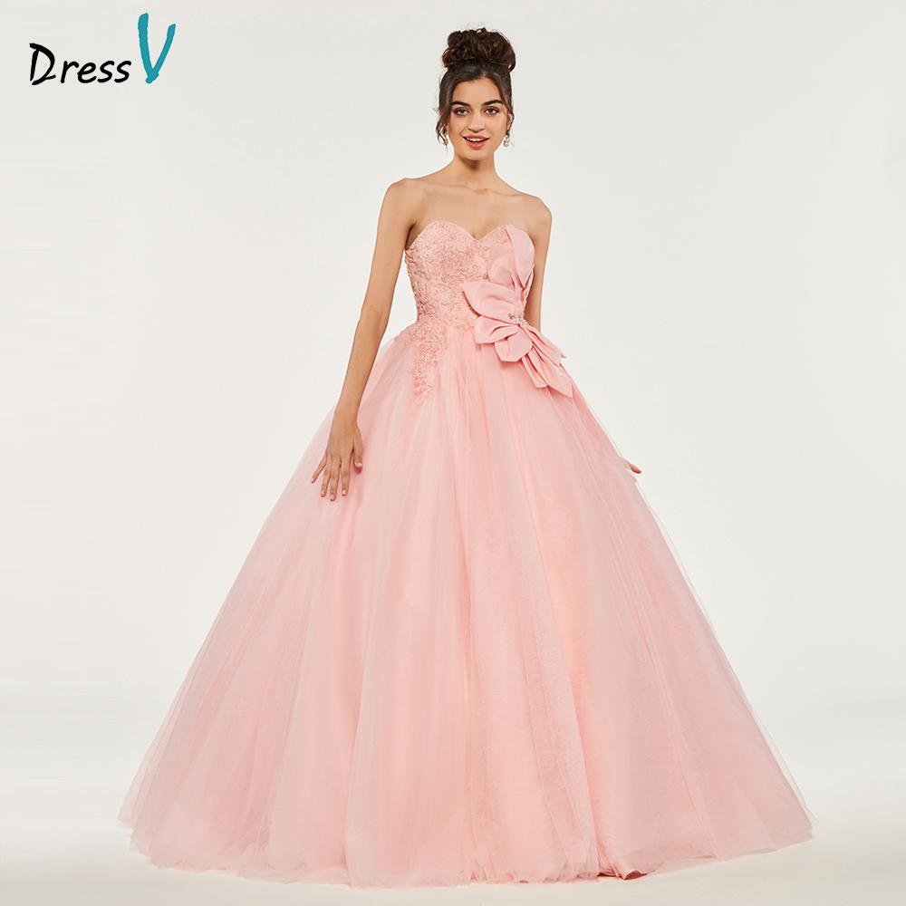 Dressv Pink Ball Gown Puffy Quinceanera Dresses Lace Up Princess Beading Appliques Sweet 16 Dress Vestidos De Debutante 15 Anos