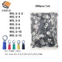VSELE 500 unids/pack anillo crimpado aislamiento terminal RV5.5-3.5 RV5.5-4 RV5.5-5 RV5.5-6 RV5.5-8 10 12 para 4-6mm2 de alambre de cable conector de cable