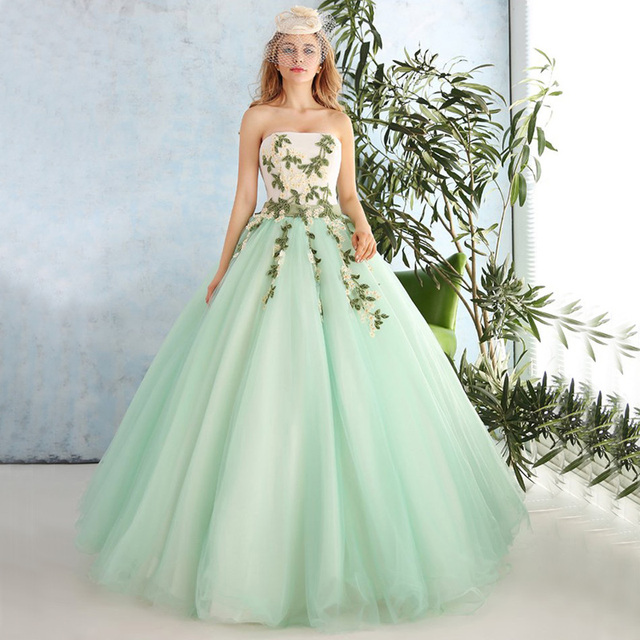 0162ebb6096 DZ087 Mint Green Prom Dresses Long Formal Celebrity Party Ball Gown Sweet  Princess Strapless Flower Beaded Lace Prom Dress