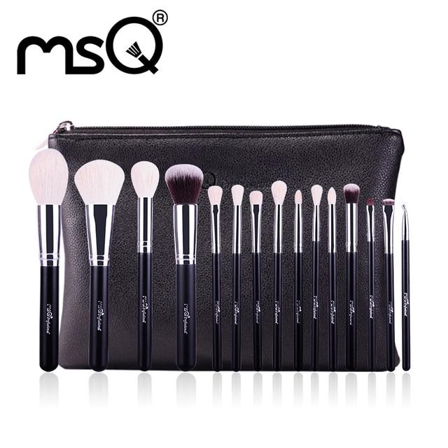 Msq 15 unids pinceles de maquillaje conjunto de alta calidad pelo de animal con estuche de cuero pu