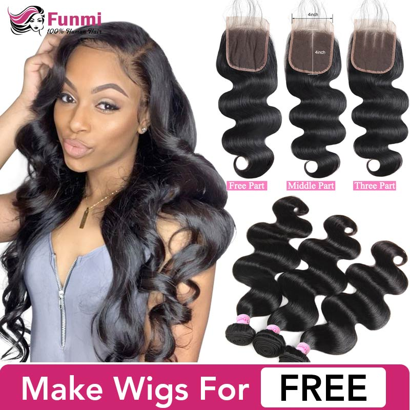 Funmi Body Wave Bundles With Closure Malaysian Hair Bundles With Closure 3 Bundles Virgin Hair Human Hair Bundles With Closure