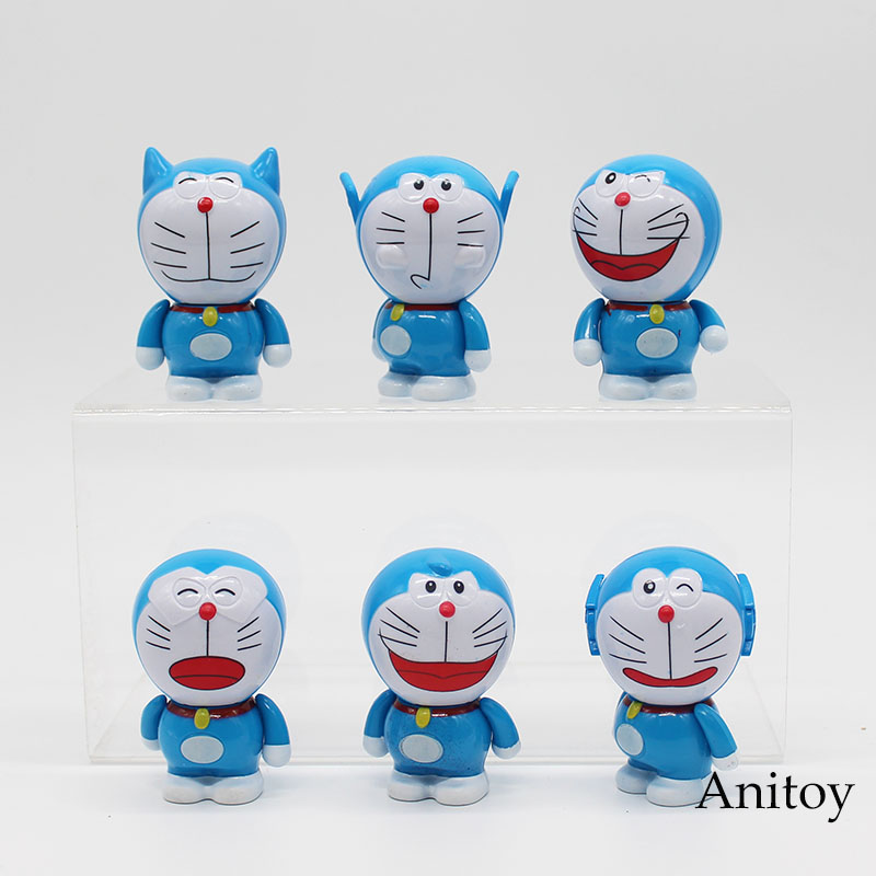 6pcs/set Anime Cartoon Cute Doraemon PVC Action Figure Model Toys 7cm KT3737