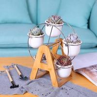 Set of Ferris Wheel Design Flowerpots White Ceramic Succulent Planter Pots 5 Bonsai Panters with 1 Bamboo Shelf