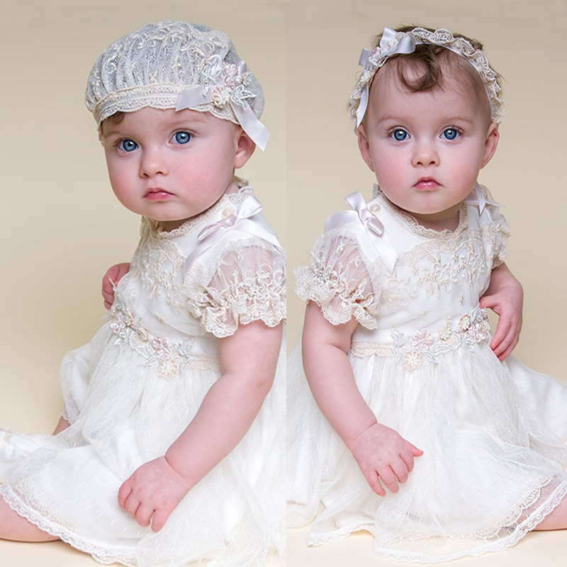 With Headband Baby Girl Dresses new white lace pattern and knee length summer style baby girls dress baby girl christening gowns hot summer style baby girls dress o neck floor length puff sleeve sleeveless lace a line formal baby girl christening gowns