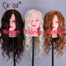 Hot Sale Professional Styling Head With Golden Hair 50cm Thick Wig Heads For Hairdressers Training Nice Mannequin