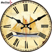 MEISTAR 9 Patterns Vintage Clocks Silent Map Design Watches Office Kitchen Home Decor Art Large Wall Clock  6 inch ( 15 cm )
