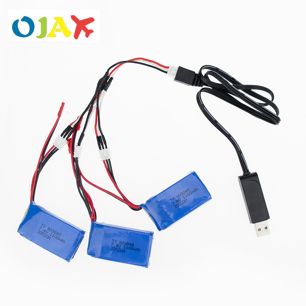 3pcs LiPo RC Drone 7.4V 1100mah Battery with USB Charger Set For Wltoys A949 A959 A969 A979 K929 RC Helicopter Airplane Car Boat
