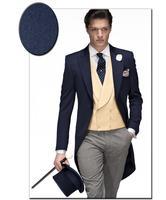 Marinha de alta qualidade azul noivo smoking padrinhos ternos Prom noivo de casamento dos homens ( Jacket + Pants + Vest + Tie ) NO : 1126