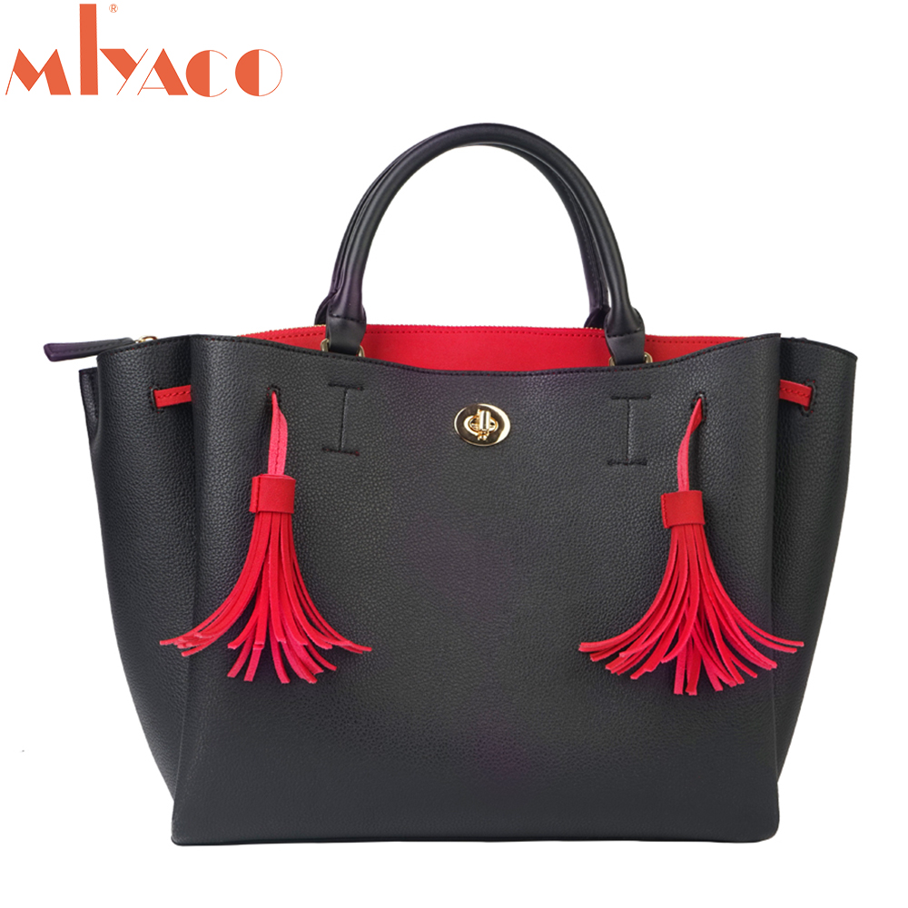 MIyaco Luxury Handbags Women Bags Designer Black Leather Purse Women Bag Retro Totes Tassel Lady Handbag