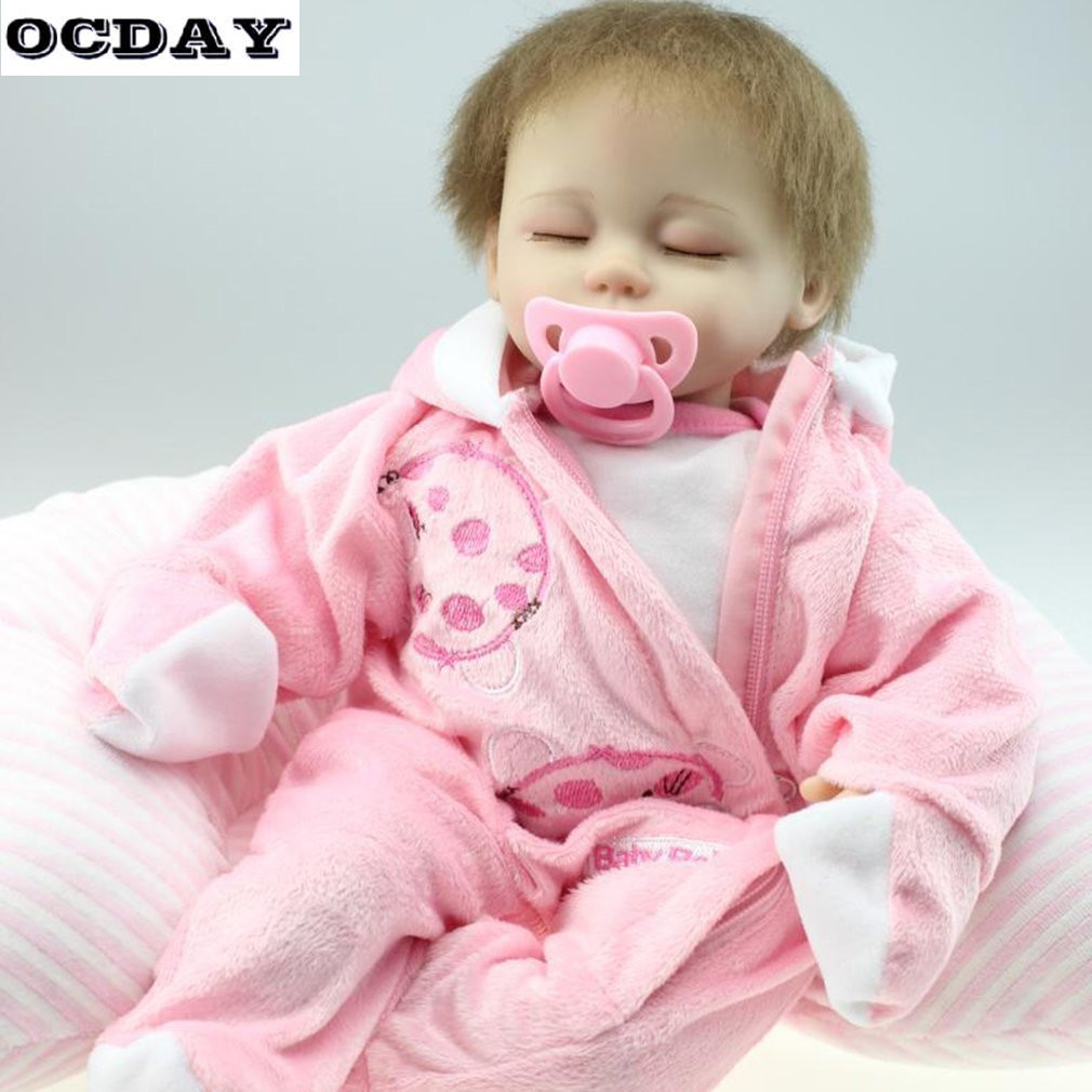OCDAY 16Inch Baby Doll Soft Silicone Girl Doll With Clothes Imitation Baby Children Birthday Gift Maternity Matron Training Tool