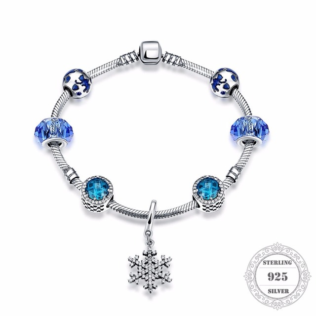 HEMISTON 925 Sterling Silver Blue Radiant Hearts Bead Bracelets with Snowflake Charm for Women Fine Jewelry Original Gift PAB005