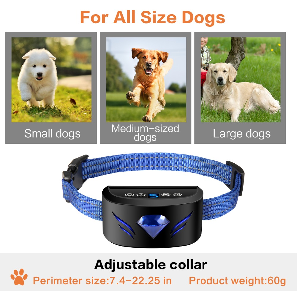 Anti Barking and Rechargeable Dog Shock Collar for Dog Training with Vibration and Shock Button 4